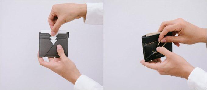 ASB122・ASP122コンパクトウォレットのカードポケットと小銭入れ