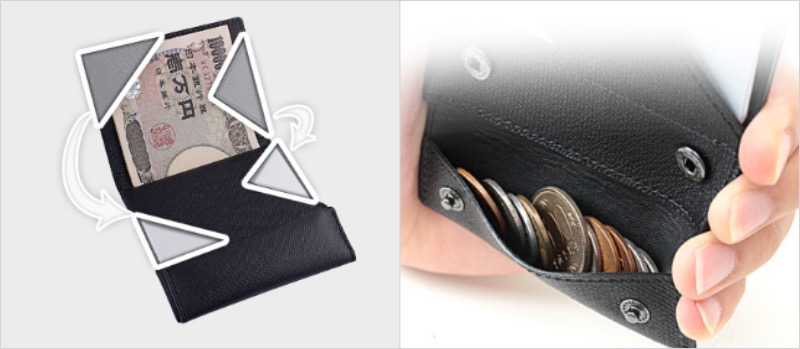 薄い財布の構造と小銭入れ