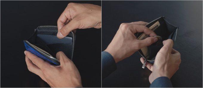 YSR144コンパクトファスナーウォレットの収納ポケット