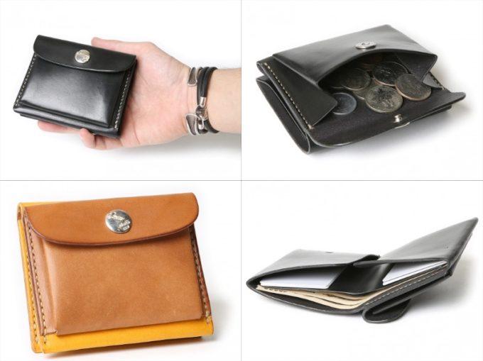 W9シリーズの財布を持つ男性と収納ポケット