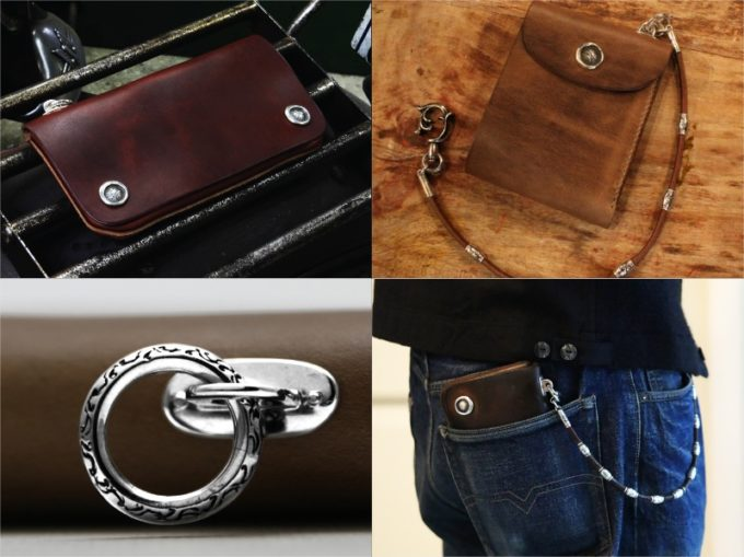 MOTOR(モーター)の長財布を持つ男性と二つ折り財布