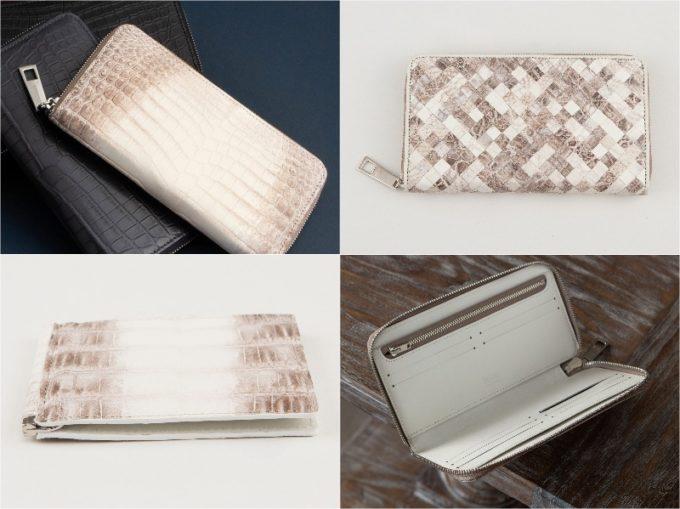 レザック・クロコダイル革財布の各種財布のナチュラルカラー