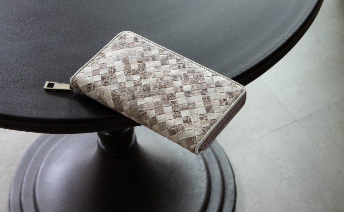 レザック・クロコダイル革財布(ナチュラルカラー)