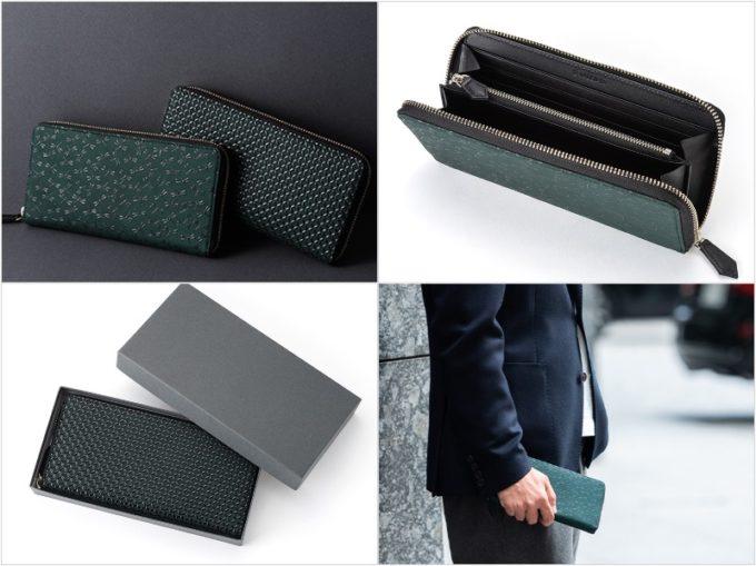 ラウンドファスナー長財布(グリーン革×黒漆)の各部と持っている男性