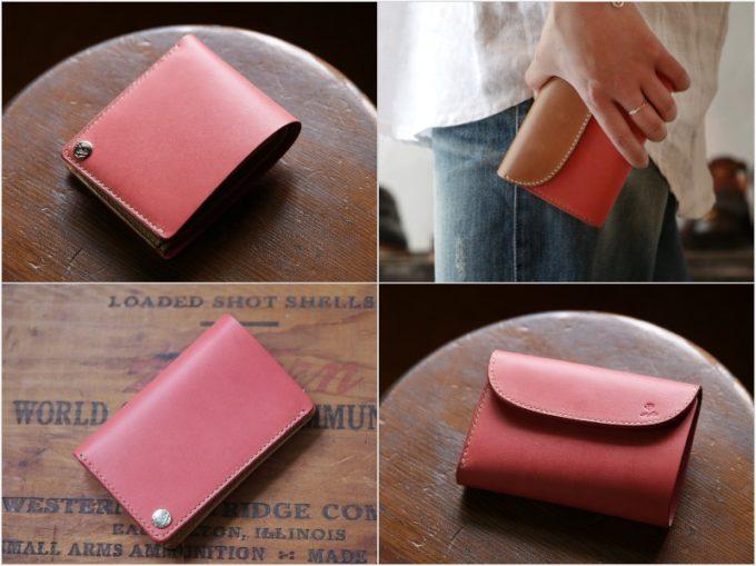 MOTO・長財布&二つ折り財布(ピンク)の各部と持つ人