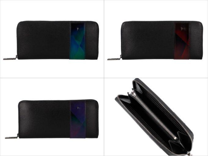 YSS114ラウンドファスナーウォレットの各カラーと内装収納ポケット
