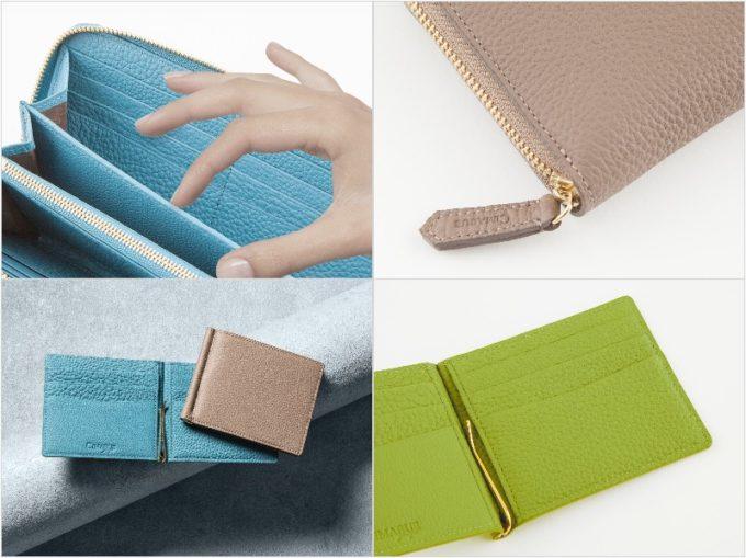 CIMABUEのシュランケンカーフシリーズの長財布とマネークリップ