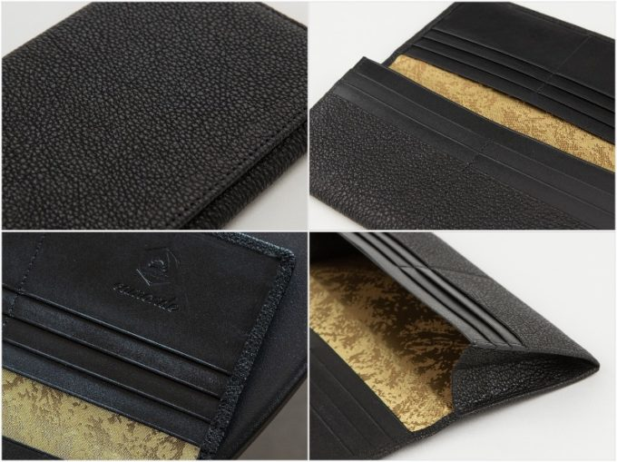 camonde・長財布(黒桟革)の外装と内装収納ポケット