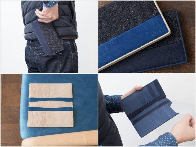 Bluestone・Sデニム×スクモレザー長財布を持つ男性と内装収納ポケット