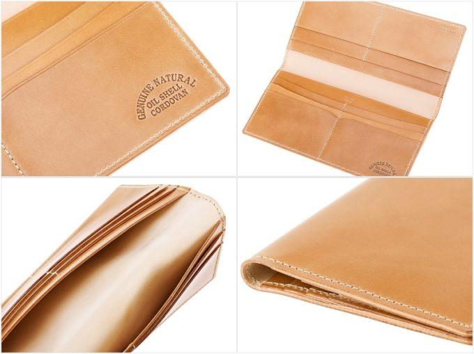 ナチュラルコードバン長財布(マチなし束入れ)の内装収納ポケット