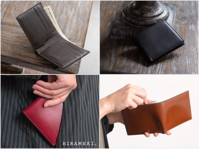 アーキライン二つ折り財布(艶有り)の内装ポケットと中身を出す人