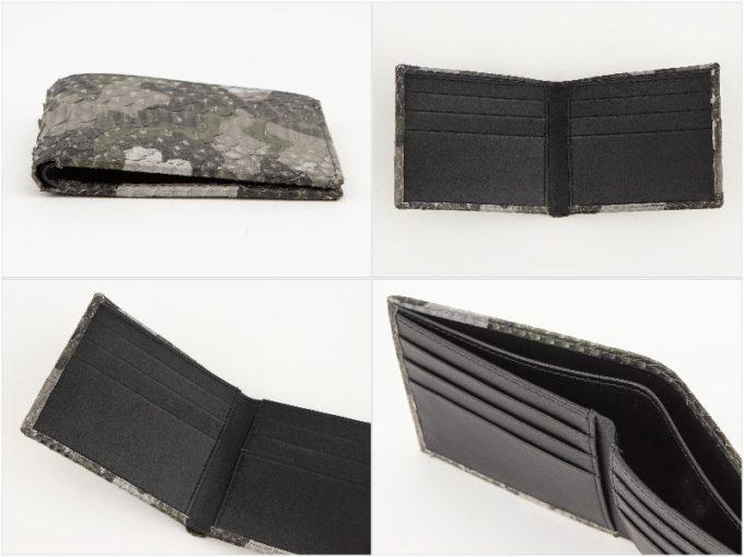 レザック・パイソン二つ折り財布の外装と内装収納ポケット