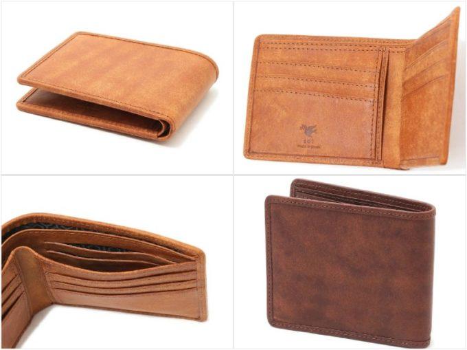 プエブロレザー二つ折り財布(小銭入れなし)の収納ポケット