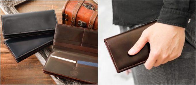 小銭入れ付き通しマチ束入(長財布)と持っている男性