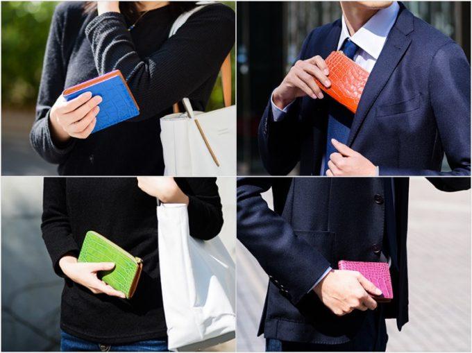 Alike クロコ型押しL字ファスナー長財布と二つ折り財布を持つ女性と男性