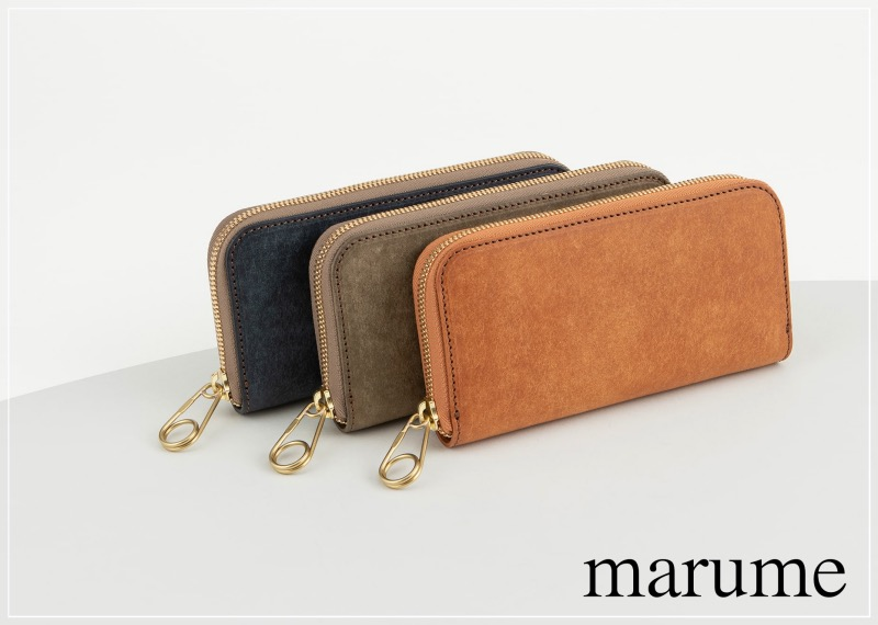 クリップ型のファスナートップを持つmarume(マルメ)の革財布