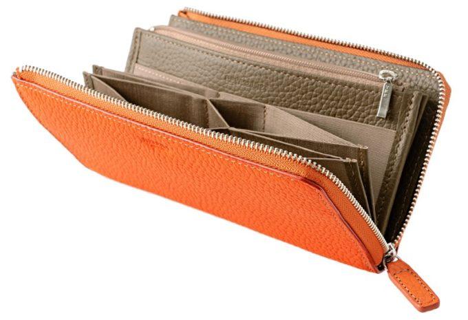 シャーレシリーズのオレンジカラーの長財布・ヘレナ