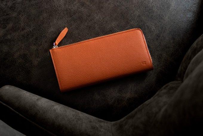 シュランケンカーフL字ジップ長財布(オレンジカラー)・レディオアオーダー