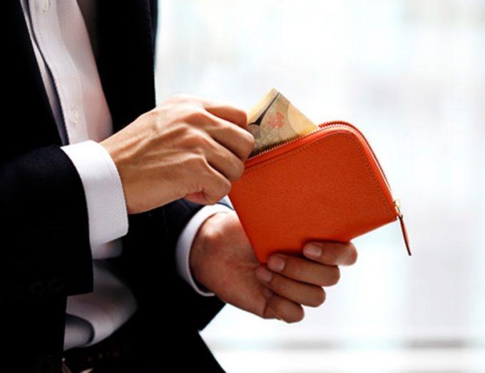 L字ファスナーマルチケース(オレンジカラー)・大峽製鞄