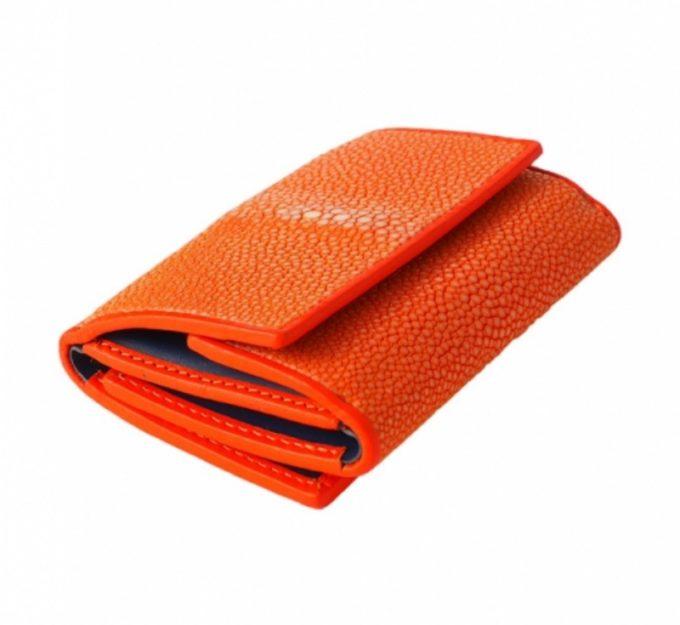 ガルーシャポリッシュオレンジの三つ折り財布・バハリ