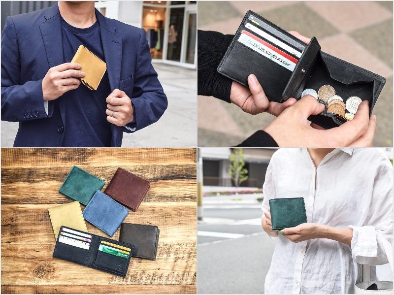 オールレザーコンパクト二つ折り財布を持つ男性と女性
