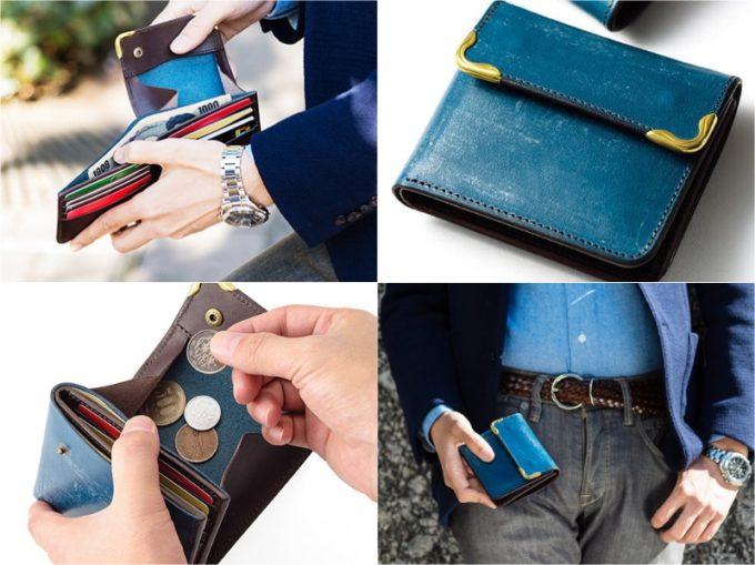 Cramp二つ折りギャルソンウォレットのカード収納と小銭入れ