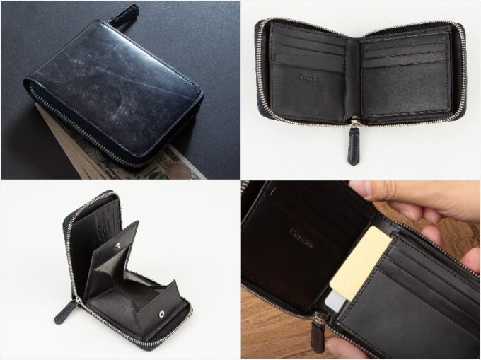 ブライドルラウンドジップ二つ折り財布の各部写真