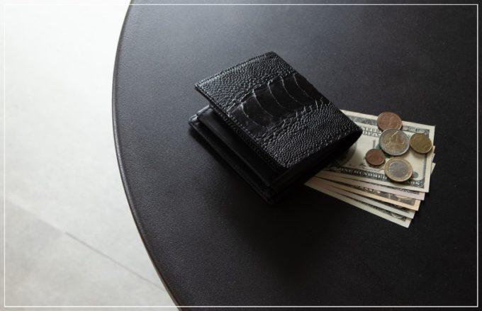 バガート・オーストリッチレッグ二つ折り財布(ボックス型小銭入れ付き)