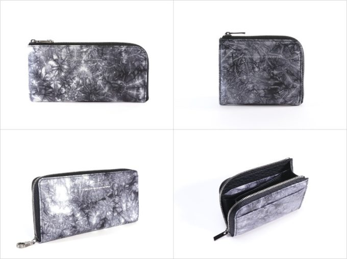 yuhaku(ゆはく)・shibori(しぼり)のグレイカラー各種財布