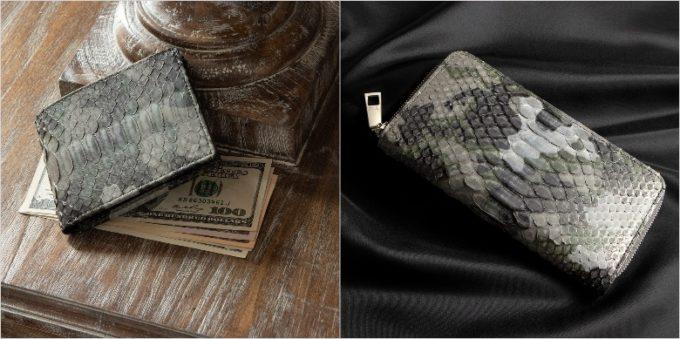LE'SAC(レザック)・Python(パイソン)のグレイカラーの二つ折り財布と長財布