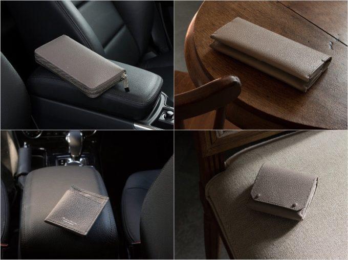 MASAMI TANAKA(マサミタナカ)・Adria Leather(アドリアレザー)のサンドグレイカラーの各種財布