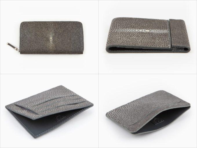 atelier AKNAS(アトリエアクナス)・Galuchat(ガルーシャ)のスティールカラーの各種財布