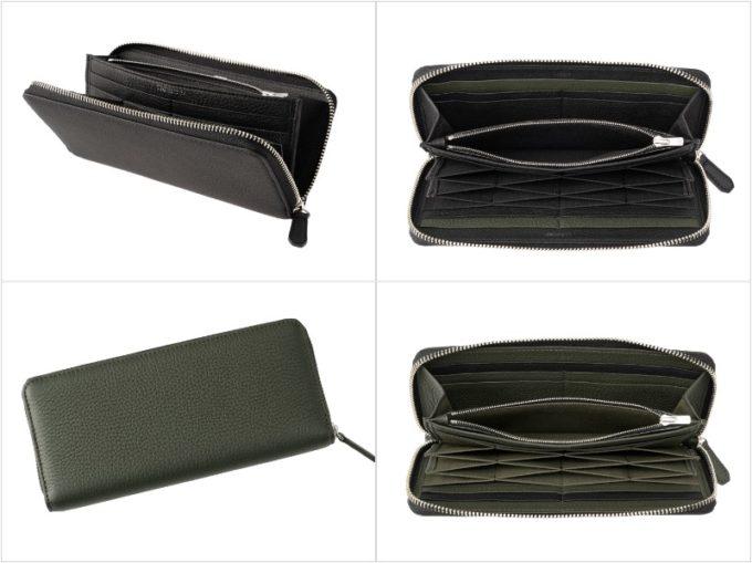 フィンランドエルクシリーズのハニーセル長財布ラウンドファスナー束入の各部