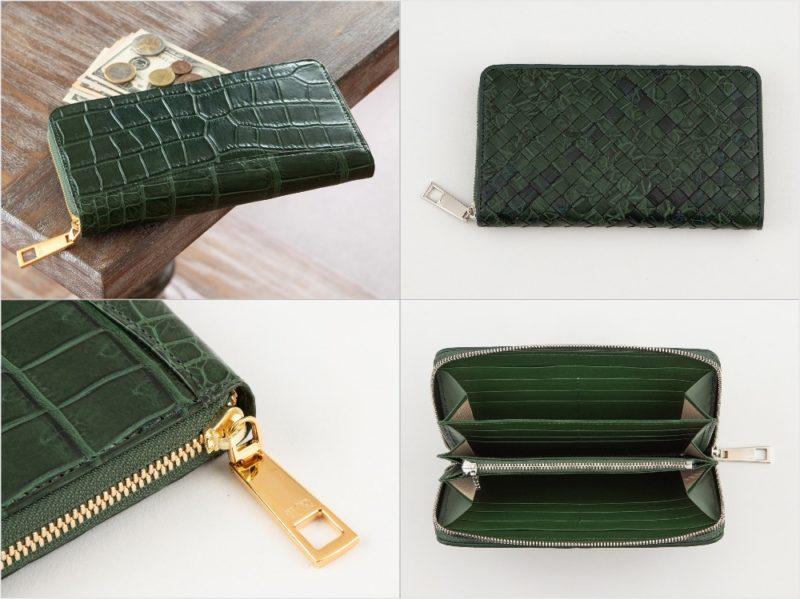 LE'SAC・ポロサスラウンドジップ長財布のグリーンカラーの各種財布