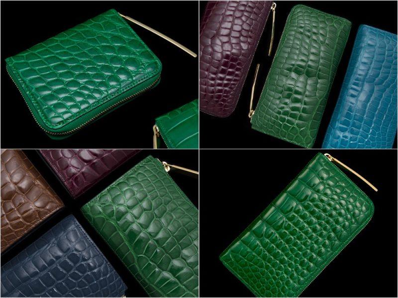 池田工芸・カラークロコダイル革財布シリーズのグリーンカラーの各種財布