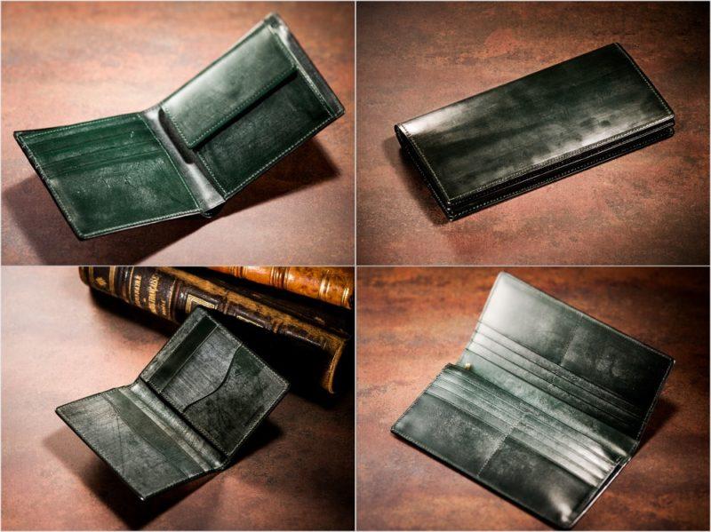COCOMEISTER・ジョージブライドルシリーズのグリーンカラーの各種財布