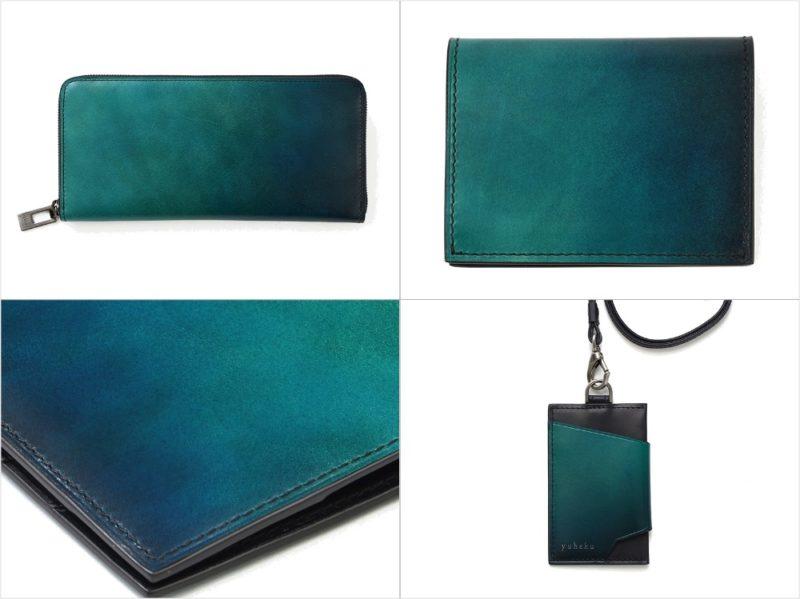 yuhaku・アートオブフラワーシリーズのグリーンカラーの各種財布