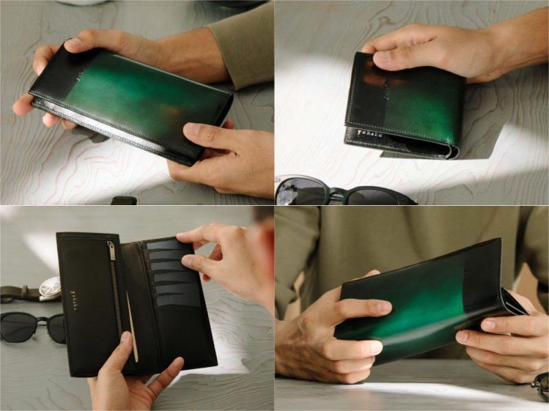 yuhaku(ユハク)・ルチェ エ オンブラシリーズのグリーンカラーの各種財布