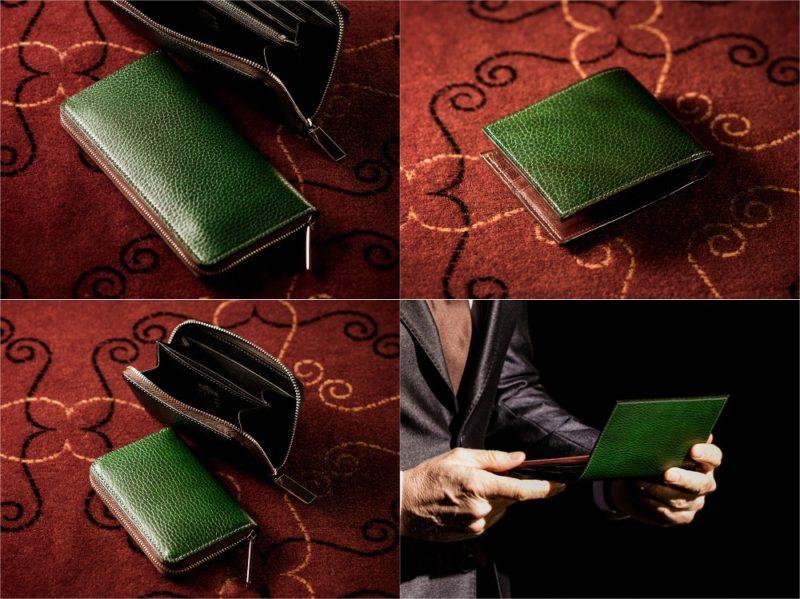 COCOMEISTER・ロッソピエトラシリーズのグリーンカラーの各種財布