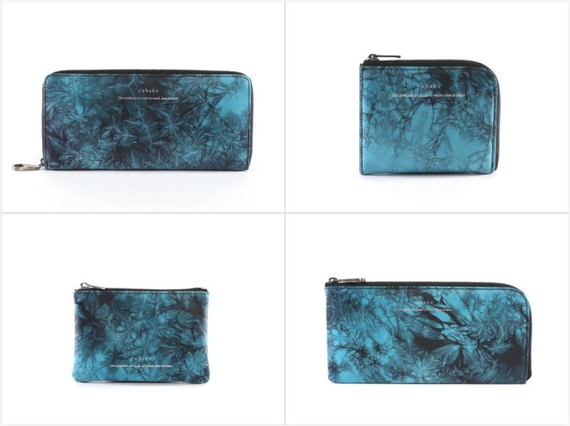 yuhaku・shibori(絞り)シリーズのターコイズカラーの各種財布