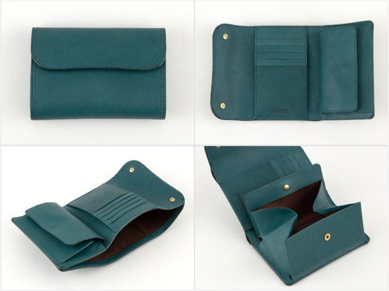 Tsurane(ツラネ)・ターコイズカラーのWホック&Wステッチミニ財布の各部
