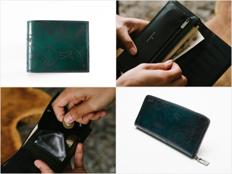 yuhaku・リトゥマーレシリーズのグリーンカラーの各種財布