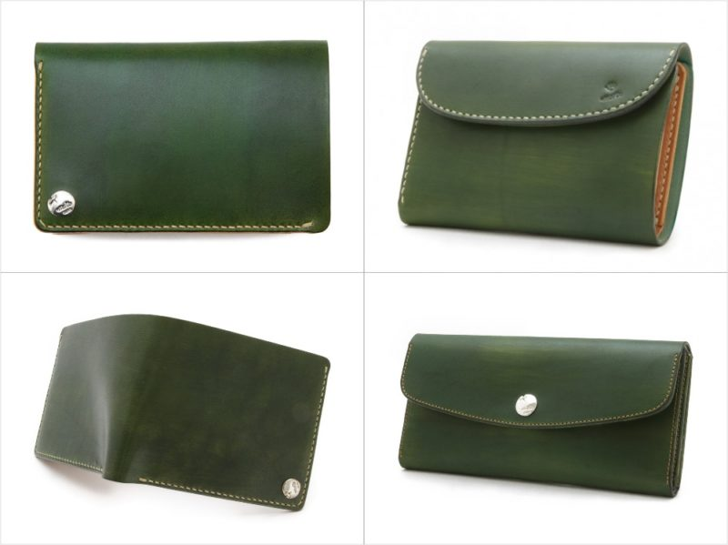 MOTO・手染めウォレットのグリーンカラーの各種財布