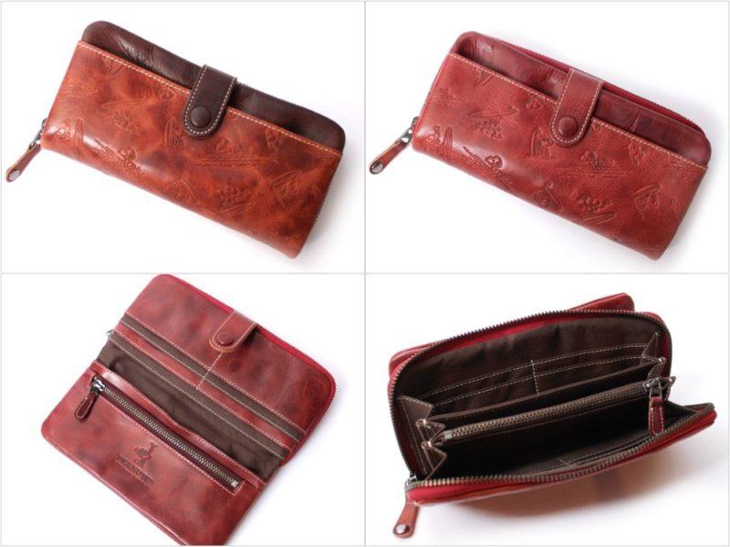 PEANUTSスヌーピー波乗りラウンドファスナー長財布の各カラーと収納ポケット