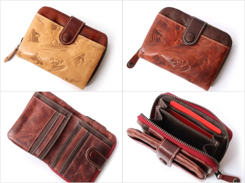 PEANUTSスヌーピー波乗り二つ折り財布の各カラーと収納ポケット