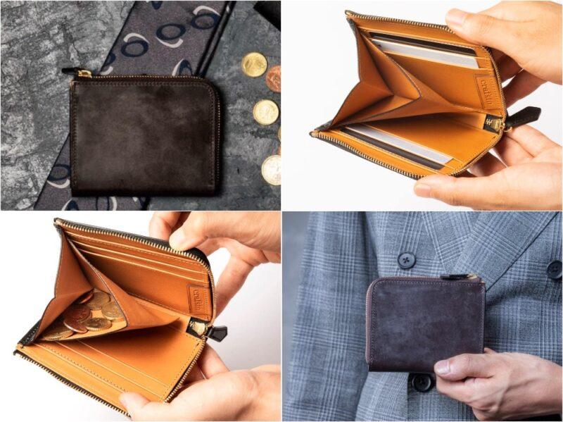 ブライドルレザー/シェルコードバンL字ファスナー財布(crafsto)の各部