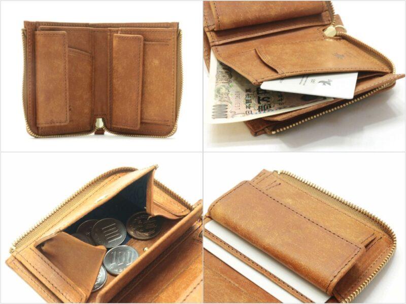 プエブロレザーLファスナー二つ折りミニ財布(sot)の各部