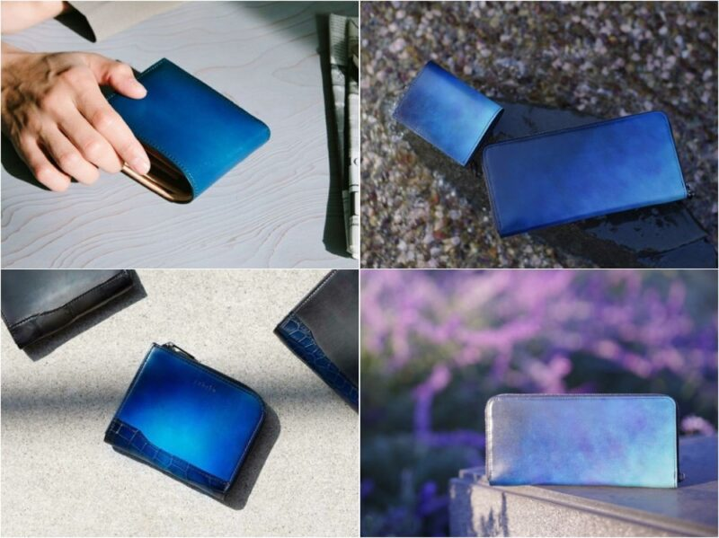 yuhaku・オリジナル染色の各種財布(グラデーションブルー)