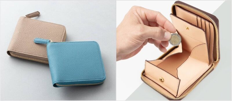 チマブエ・ラウンドジップ二つ折り財布(ボックス型小銭入れ)の各部
