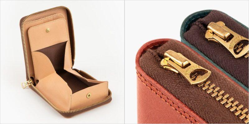 ツラネ・ミニラウンドジップ財布(ボックス型小銭入れ)の各部
